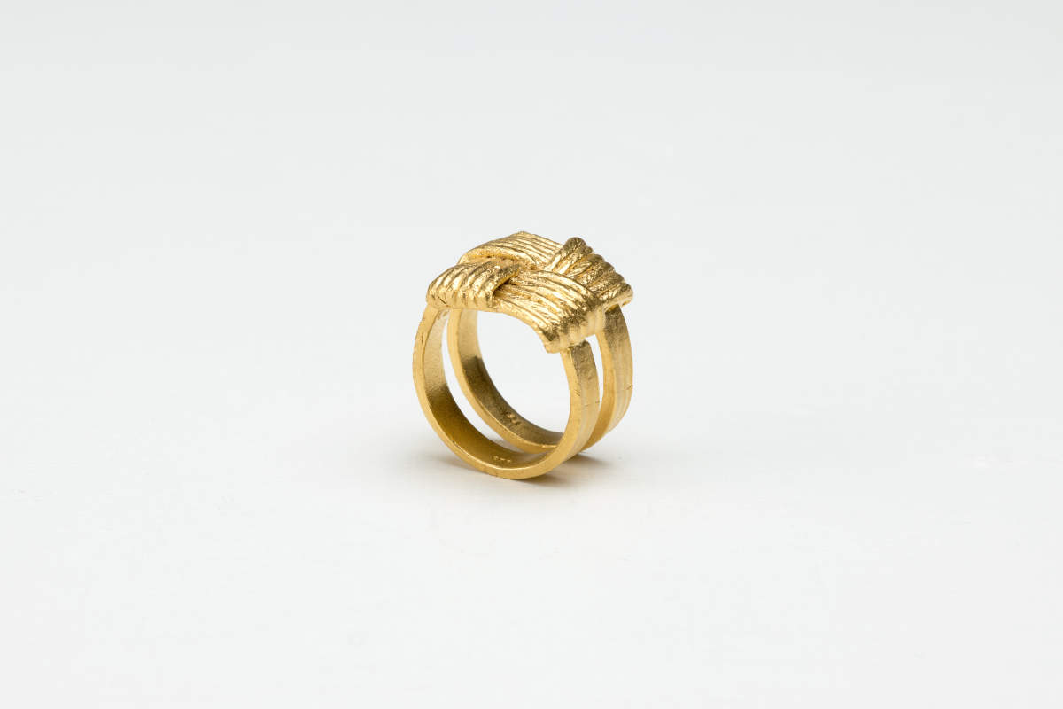 Ring Geflecht gegossen Gold plattiert